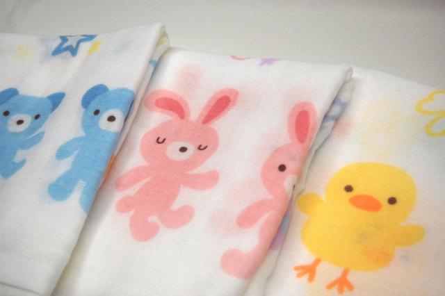 おぼろタオル/ガーゼ/バスタオル/フェイスタオル/ウォッシュタオル/ベビー/赤ちゃん/日本製/かわいい/動物/ウサギ/クマ/ヒヨコ