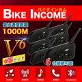 【送料無料】 (BKI282-V6-6set)  バイク用 インカム 6個セット ★6台接続可能(2台間で通話)! ★最大通信距離 1000m! ★Bluetooth対応で音楽転送・ハンズフリー通話も可能!