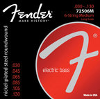Fender(フェンダー)弦 【6弦ベース用セット弦】「72506M×1セット」[ゲージ:30-130] Bass Strings Nickel-Plated Steel 7250's 【送料無料】