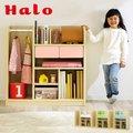 【大容量収納★ハンガーポール付き】幅90cm キャスター付き ランドセルラック Halo2(ハロ2) 4色対応 ラック ワイド おしゃれ 子供部屋 リビング収納家具 本棚 男の子 女の子 子供用 木製 ホワイト グリーン ブルー ピンク