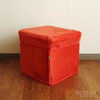 座れるファブリックボックスツール(収納ストッカー) レッド