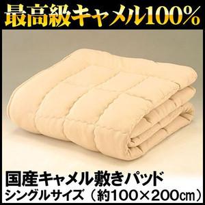 キャメル 敷きパッド シングル 100×200cm 日本製 国産 ふんわり最高級キャメル100% 毛布 敷パッド 敷パット 敷きパット〔6SB508300BE〕