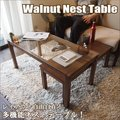 送料無料 ウォールナット ネスト テーブル [ ツインテーブル センターテーブル ローテーブル リビングテーブル ガラステーブル 2点セット 北欧 テーブル ] a-life