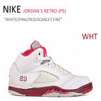 【送料無料】NIKE JORDAN 5 RETRO PS/WHITE/PINK/RED/SCARLED FIRE【ナイキ】【440893-101】