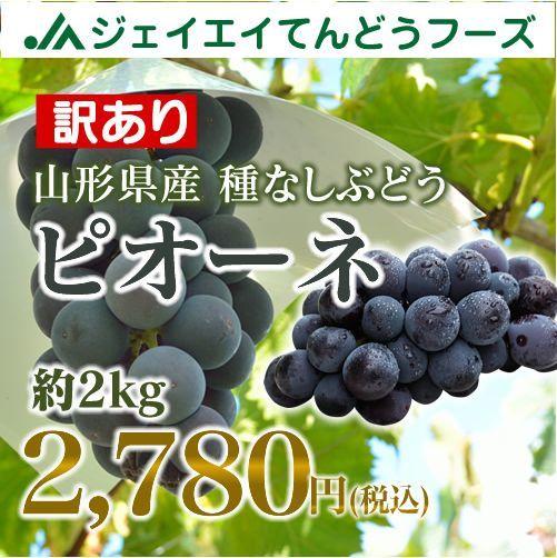 【訳あり】 山形県産 種なし ぶどう 『ピオーネ』 約2kg 大粒 h05