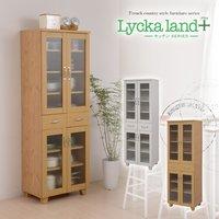 【送料無料】 Lycka land 食器棚 60cm幅 (Lycka land リュッカランド フレンチカントリー カントリー家具 カントリーテイスト キッチン収納 キッチンラック 食器棚 食器ボード キッチンボード 食器収納)