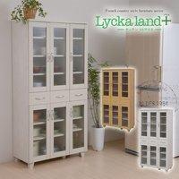 【送料無料】 Lycka land 食器棚 90cm幅 (Lycka land リュッカランド フレンチカントリー カントリー家具 カントリーテイスト キッチン収納 キッチンラック 食器棚 食器ボード キッチンボード 食器収納)