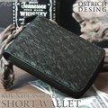 【送料無料】 オーストリッチ調 ラウンドファスナー 二つ折り財布 メンズ ラウンドウォレット サイフ ブラック
