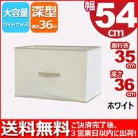 『カラーボックス インナーボックス大』単品 IB-5435 幅54cm奥行き35cm高さ36cm 送料無料 便利でお洒落(おしゃれ)収納ボックス 布製(ファブリック) タオル収納 衣類収納 書類収納 整理整頓 子供おもちゃ収納BOX 小物収納 ケース シンプル ホワイト(白)×ベージュ 10P27May16