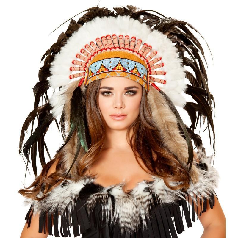 ネイティブアメリカン インディアン ヘッドドレス ヘッドピー...|アカムス【ポンパレモール】
