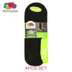 フルーツオブザルーム FRUIT OF THE LOOM 正規品 靴下 MENS INVISIBLE LINER SOCKS 4PAIRS M7106B4Z BLACK Size.6-12