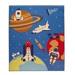 【代引不可】【メーカー直送】【デスクカーペット】 男の子 宇宙柄 『スペース』 ブルー [約110×133cm] 【イケヒコ・コーポレーション】【メール便・ラッピング不可】