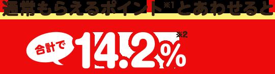 通常貰えるポイントと合わせると合計で14.2%ポイント還元!