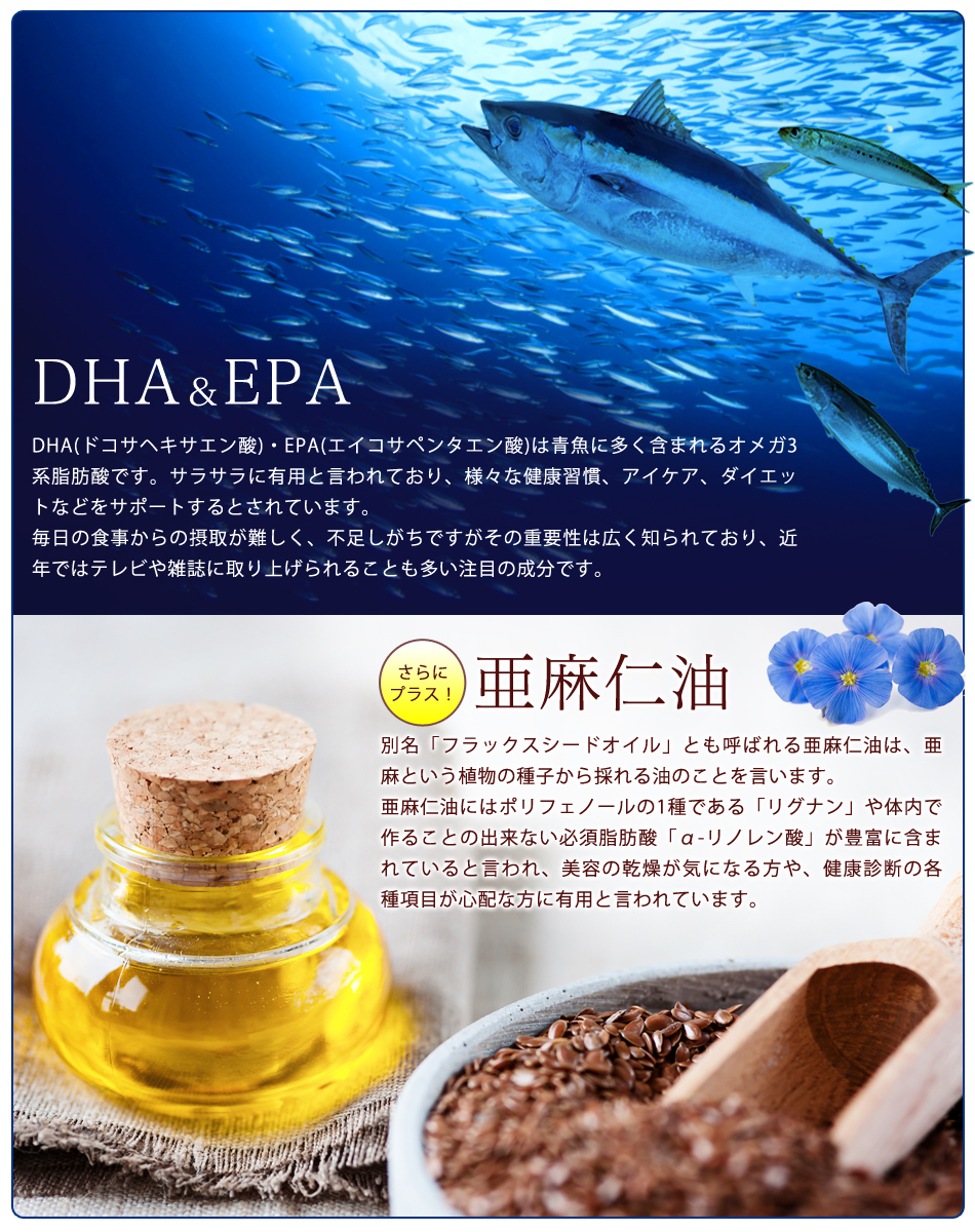 お徳用オメガ3-DHA&EPA&α-リノレン酸サプリ (2個セット・約6ヶ月分) 送料無料 代引き・日時指定不可 サプリ サプリメント オーガランド 健康食品【M】再入荷リクエストが完了しました。再入荷リクエスト