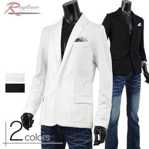 テーラードジャケット メンズ ジャケット 袖裏 花柄 伸縮 チーフ キレイめ 1つボタン B270119-01
