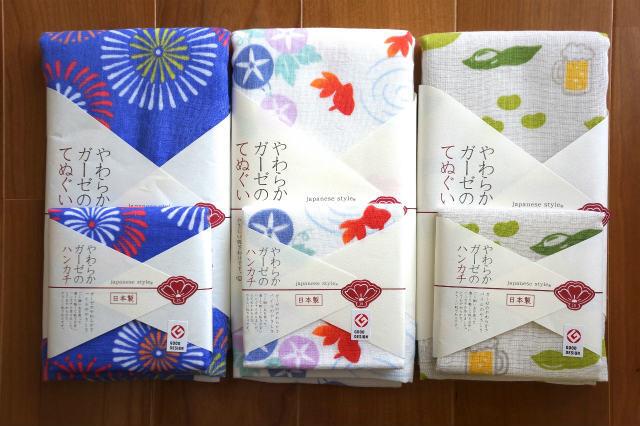 夏のタオル/フェイスタオル/ハンカチ/泉州タオル/日本製/ガーゼタオル