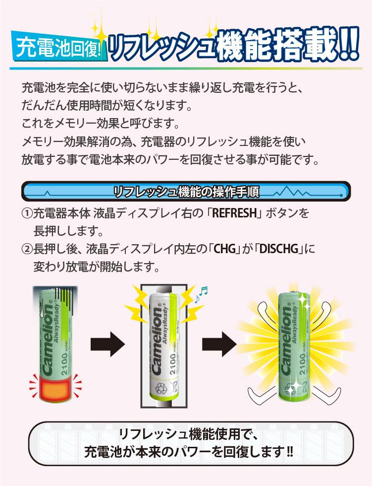充電池回復!リフレッシュ機能搭載!! 放電機能使用で電池本来のパワーを回復できます。