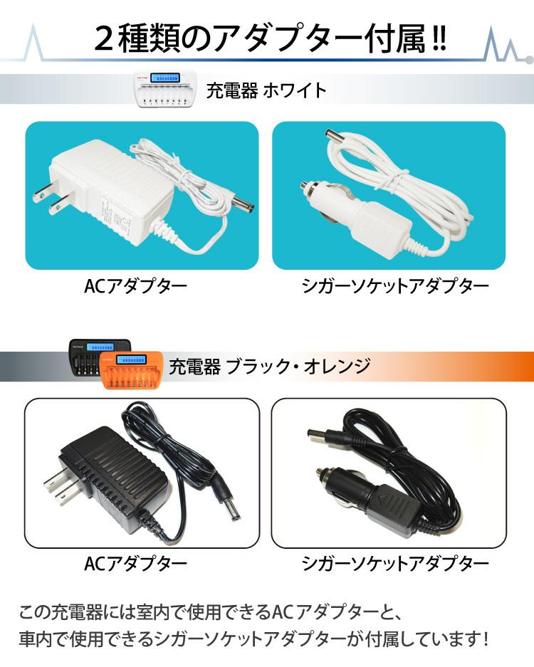 2種類のアダプター付属 この充電器には室内で使用できるACアダプターと、車内で使用できるシガーソケットアダプターが付属しています!