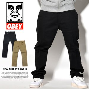 OBEY オベイ ツイルパンツ メンズ カラージーンズ スリムフィット NEW THREAT TWILL PANT III 2017 秋冬 新作
