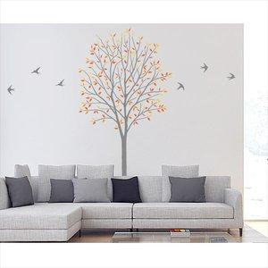 格安 東京ステッカー 高級ウォールステッカー 植物 木とツバメ Sサイズ *TS0027-DS オレンジ 『おしゃれ かわいい』 『おしゃれ 『壁 シール』 送料無料 【東京ステッカー】人気の高い「木」と「鳥」のオールシーズン、長く楽しめるデザイン, 漆器 よし彦:a27efb8e --- blog.buypower.ng
