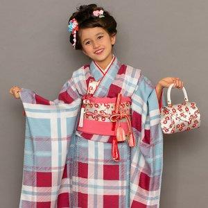 【即出荷】 LILLI 7歳 四つ身着物 絵羽 チェック 水色 七五三 3歳 7歳 こども kids 着物, 一六本舗 a60b3e6b