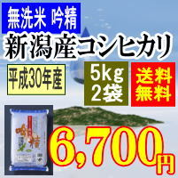 送料無料無洗米新潟産コシヒカリ10kg(5kgx2袋)