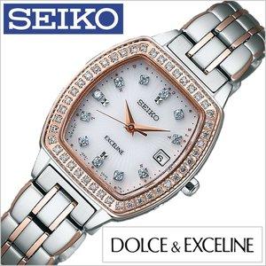 高価値セリー 送料無料 セイコー腕時計 SEIKO時計 SEIKO 腕時計 セイコー 時計 ドルチェ&エクセリーヌ DOLCE&EXCELINE レディース/ホワイト SWCW088 [人気/新作/ソーラー 電波修正/シルバー/ピンクゴールド], まるじゅう 39634051