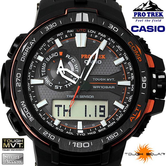 244252906e CASIO カシオ PRO TREK プロトレック メンズ 腕時計 腕時計 prw-6000y-1d 電波ソーラー ブラック レッド タフソーラー 海外モデル  アウトドア 登山アウトドアツール ...