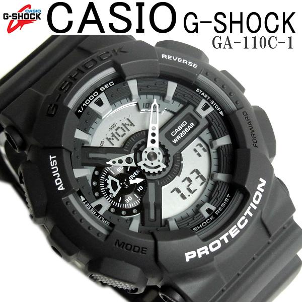 90cf68d3721b1 CASIO G-SHOCK カシオ 腕時計 GA-110C-1 アナデジ Gショック メンズ 腕時計 ブランド カシオ GSHOCK GA110C-1  デジアナ 海外モデル 黒 ブラック 人気 カシオ不動の超 ...