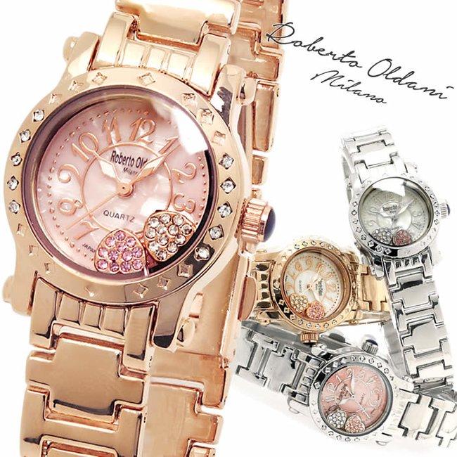 super popular 38819 b4bfe 腕時計 レディース ハッピー ブランド 人気 時計 ハート 激安 ハートチャーム シェル かわいい Roberto Oldani ロベルト・オルダーニ  文字盤の中でストーンが動く WATCH うでどけい とけい【腕時計】【レディース】