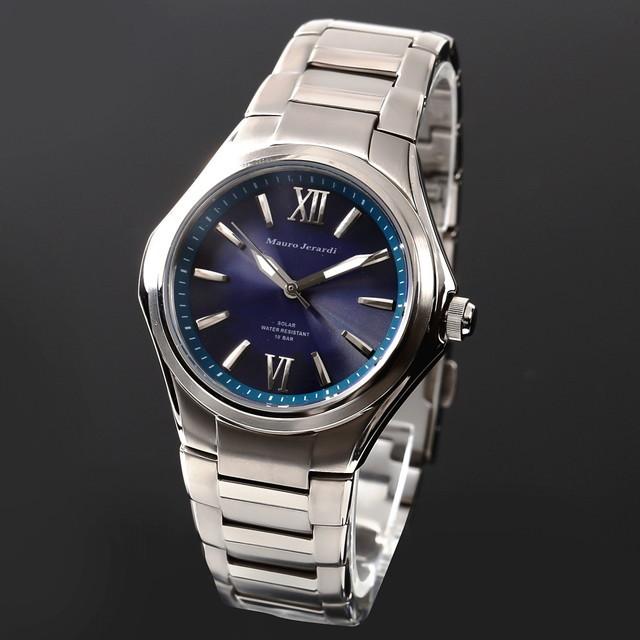 5fbf331523 メンズ腕時計 マウロジェラルディ Mauro Jerardi ウォッチ チタン ソーラー 男性用腕時計 防水 電池交換不要 mj039-5  ダークブルーチタンを使用した時計は珍しくとても ...