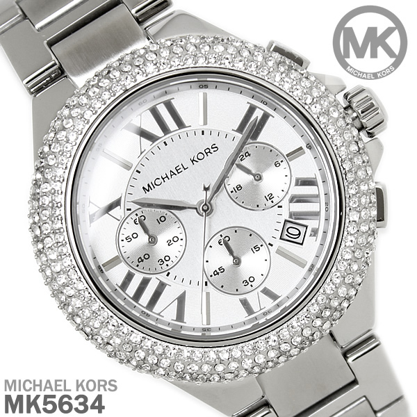 5f2a29581b55 マイケルコース 時計 レディース クロノグラフ MICHAEL KORS 腕時計 マイケル コース MK5634 シルバー ラグジュアリー セレブ  エレガント ラインストーン プレゼント ...