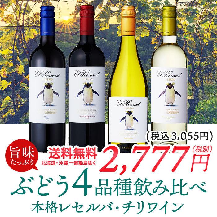 お手軽単一品種チリワイン飲み比べ4本セット