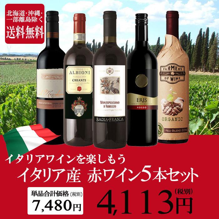 イタリア産 赤ワイン 5本セット