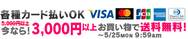各種カード払いOK! 今なら3,000円以上お買い物で送料無料!5/25 9:59amまで!