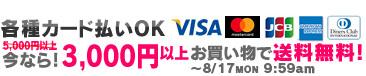 各種カード払いOK! 今なら3,000円以上お買い物で送料無料!8/17 9:59amまで!