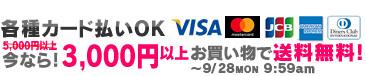 各種カード払いOK! 今なら3,000円以上お買い物で送料無料!9/28 9:59amまで!