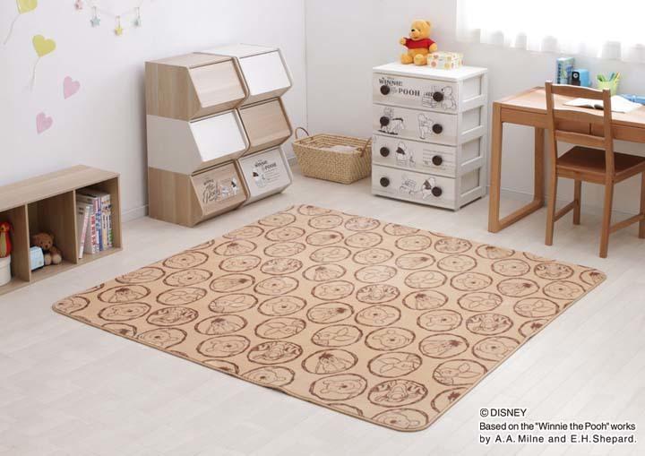 マットカーペット敷物絨毯じゅうたんラグオシャレ北欧子ども部屋子供部屋リビング寝室ディズニークラシックくまのプーさんプリントラグPR-1818185×185cmアイリスオーヤマ