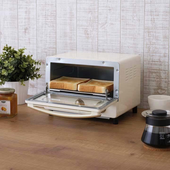 リコパりこぱキッチン家電おしゃれかわいいレトロコンパクトトースターricopaオーブントースターEOT-R1001-PA・EOT-R1001-AA・EOT-R1001-Cアッシュピンク・アッシュブルー・アイボリーアイリスオーヤマ