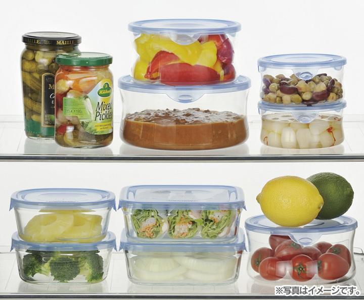 食品保存容器収納透明電子レンジIwaki 角型8点セットアクアブルーAGCテクノガラス