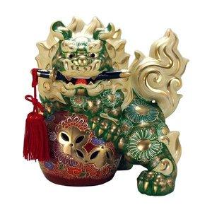 新到着 九谷焼 緑彩 8号剣獅子 8号剣獅子 緑彩 N194-12 威厳のある獅子の置物。, ビキヤ:77522794 --- szellemkeponline.hu