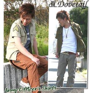 DOVETAIL(ダブテイル)綿麻ブロードミリタリーオフィサー半袖シャツ メンズ