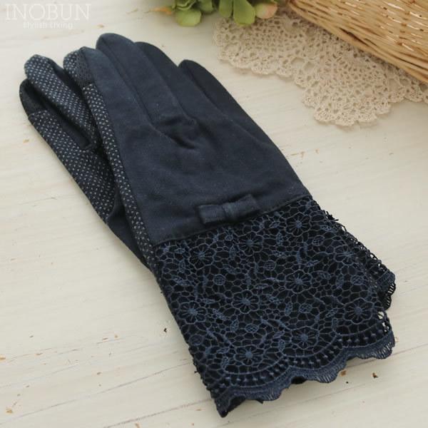 五指ショート 裾ケミカルレース UVケア UVグローブ(手袋)