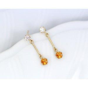 【翌日発送可能】 K18 0.1ctダイヤモンド/オアレンジサファイアピアス, へるすぴあ:85087a15 --- blog.buypower.ng