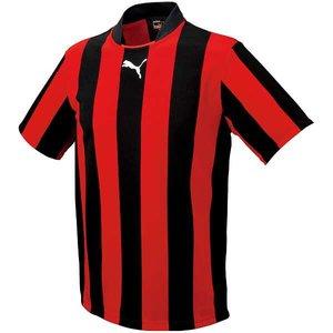 送料無料 PUMA プーマ ストライプJR半袖ゲームシャツ [カラー:ブラック×レッド] [サイズ:150] #903297-04