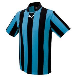 送料無料 PUMA プーマ ストライプJR半袖ゲームシャツ [カラー:ブラック×サックス] [サイズ:130] #903297-02