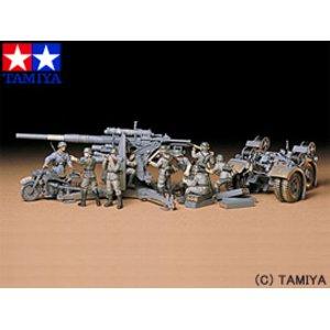 送料無料 TAMIYA タミヤ 1/35 ミリタリーミニチュアシリーズ No.017 ドイツ・88ミリ砲(人形9体・ツエンダップKS750オートバイつき)