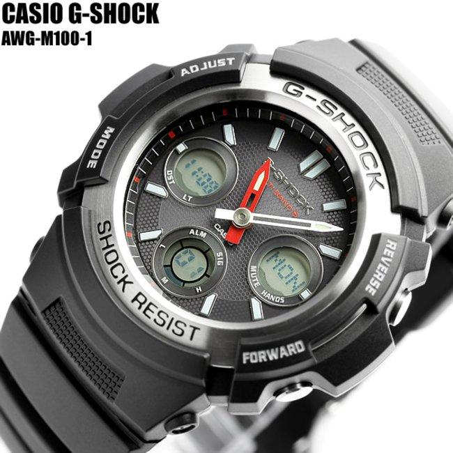 cheaper bb36a bb383 【G-SHOCK/腕時計】Gショック 電波ソーラー G-SHOCK ジーショック CASIO カシオ 腕時計 AWG-M100-1 メンズ うでどけい  Men's
