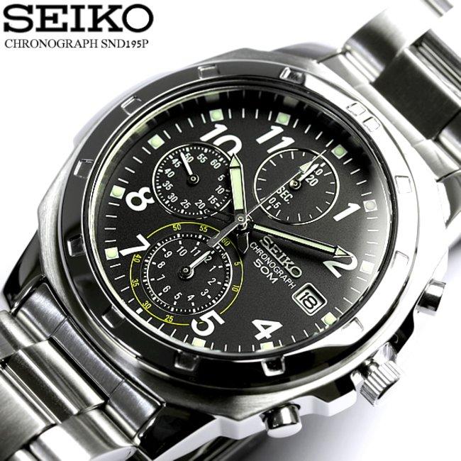pretty nice 30ed1 8e0d1 逆輸入 SEIKO セイコー クロノグラフ メンズ 腕時計 ウォッチ うでどけい Men's クロノ 海外モデル SND195