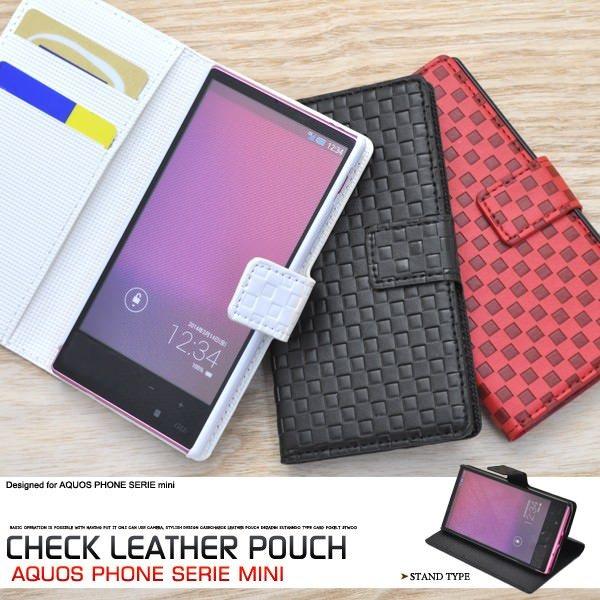 AQUOS PHONE SERIE mini SHL24 ケース 市松模様 格子柄 チェック柄 レザーケース 手帳型ケース スマホケース カバー アクオスフォン mini shl24